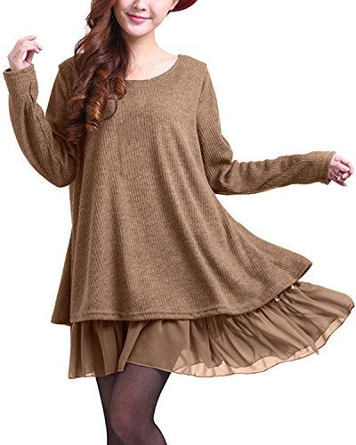Zanzea Femme Sweater Tricot Lâce Manche Longue Haut Pull Mini-Robe Cardigan Sweats, Marron, EU 40/ US 8 UK 12