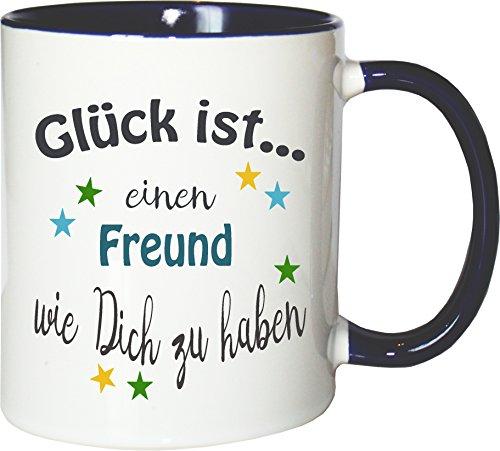 asse Glück ist.... Freund Kaffee Kaffeetasse liebevoll Bedruckt Buddy Bro Kumpel Weiß-Blau ()