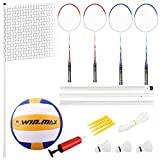 WIN.MAX Badminton Volleyball Combo Set 4 Player Racket Poles Net Volleyball Pump and Accessories
