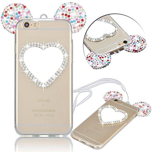 Vandot Luxe Case iPhone 6S Plus Coque arrière en Silicone TPU Cover Transparent avec Bling Diamant Bumper Frame pour iPhone 6 Plus Ultra Fines Paillettes Strass Premium Mat Étui Cristal Case Glitter C Love Mirror-Colour