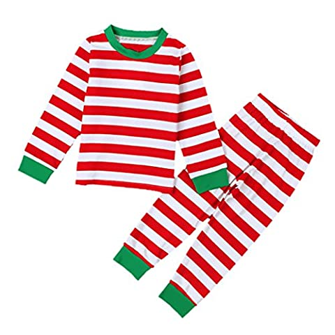 MagiDeal Unisex Kids Healthy Cotton Stripe Long Johns Comfy Pajamas Red & Green - Red, 3