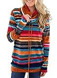 Damen Pulli Pullover Elegant Kapuzenpullover Hoodie Casual Sweatshirt Rollkragen Buntes Gestreiftes Loose (L, Mehrfarbig)