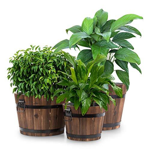 Blumfeldt Trifloris Holzeimer • Set de 3 Pots de Fleur en Bois• Look Rustique • Résistant aux intempéries • Sapin traité à la Flamme • Poignée en Fonte