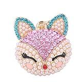 DaoRier Exquisite Fox Aussehen Perle Schlüsselanhänger Schlüssel Schnalle Schlüssel organizer Schlüsselan hänger ,1 Stück (Rose)