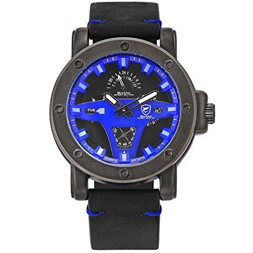 Shark Sport Herren Quarz Armbanduhr Leder 24 Stunden Tag Datum Anzeige Gebraucht SH456