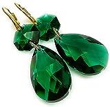 Jolie-Ohrringe mit Swarovski-Kristallen, Smaragd,  24-K-Gold, Sterlingsilber, GP-Zertifikat