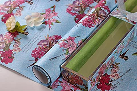 Romote Scented Drawer Liners Paper,Non-Adhesive Shelf Paper-(5 Sheets, Light Blue-Cherry)