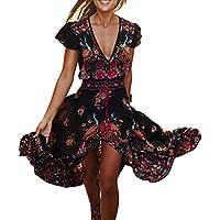 Vestidos Playa Mujer V Cuello De Manga Corta Floral Largo Vestido De Fiesta De Noche Maxi
