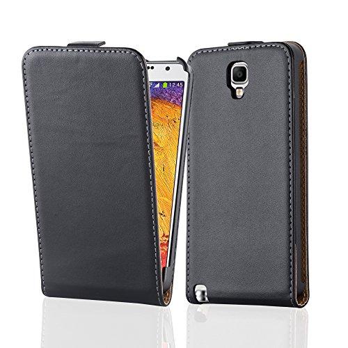 Cadorabo Hülle kompatibel mit Samsung Galaxy Note 3 NEO Hülle in KAVIAR SCHWARZ Handyhülle aus glattem Kunstleder im Flip Case Cover Schutzhülle Etui Tasche