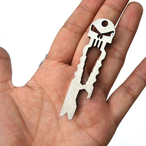 FEITONG Outdoor Edelstahl Schädel Multifunktion Süberlebens Taschen Werkzeug Öffner Schlüsselring (Silver)