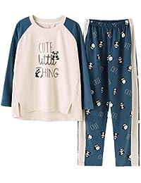 Mmllse Vêtements De Femme pour Femme Pyjamas Panda Pyjama en Coton Vêtements  De Nuit Vêtements De Nuit À Manches Longues Robe De… 34aa6b5a9ab