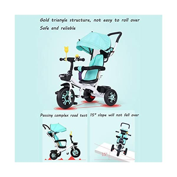 3 In 1 Childrens Tricycles 12 Months To 5 Years Stable Seat Can Be Adjusted Back Kids Tricycle Heigh Adjustable Handlebar Folding Sun Canopy Child Trike Maximum Weight 25 Kg,Gray BGHKFF ★{Material}: High carbon steel frame + environmentally friendly plastic, suitable for children from 1 to 5 years old, maximum weight 25 kg ★{3 in 1 multi-function}: Convertible to stroller and tricycle. Remove the hand putter and awning as a tricycle. ★{Safety Design}: Gold triangle structure, not easy to turn side down, skin-friendly safety Oxford cloth fabric, 360° safety fence, 3 adjustable awnings, effectively block UV rays, rear wheel double brakes, lock rear wheel 3