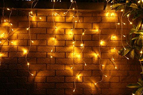 400er LED 10m Eisregen Lichterkette Lichtervorhang Eiszapfen Außen Innen Deko für Garten Party Hochzeit Strombetrieben mit Stecker Gresonic (Warmweiß, Fernbedienung+Timer+6 MODI)