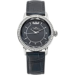 Women's Black Leather ORL1001_N35 Crystal Moments Watch Miluna
