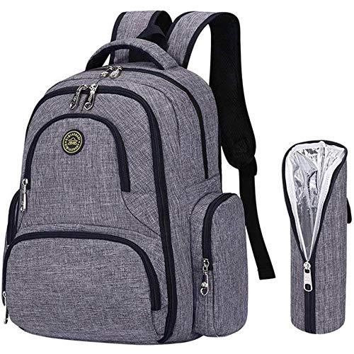 BISON DENIM Baby Wickelrucksack Wickeltasche mit Wickelunterlage Multifunktional Babytasche Canvas Kein Formaldehyd Reisetasche für Unterwegs -