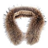Damen Abnehmbare Mode Waschbär Kragen Pelz Fell Echtpelz Pelzkragen Parka Pelzkragen Schal für Wintermantel