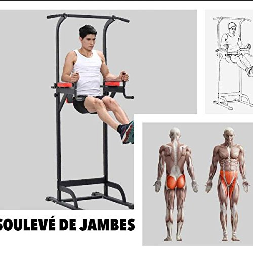 Pull Up Fitness - Barre de Traction avec Chaise Romaine, Noir/Rouge