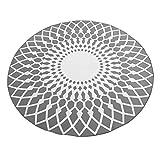 CivilWeaEU Stylish Schwarz-Weiß-Runde Teppich Wohnzimmer Couchtisch Großer Teppich (Farbe : Grau, größe : 80cm)