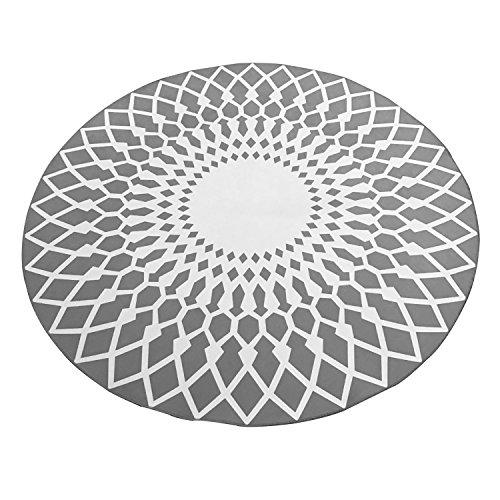 Stylish Schwarz-Weiß-Runde Teppich Wohnzimmer Couchtisch Großer Teppich ( Farbe : Grau , größe : 80cm ) (Große Couchtisch Runde)