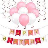 PBPBOX M�dchen Kinder Geburtstag Party Deko, 1 Geburtstag Girlande, 30 Luftballons mit 1 ballonpumpe und 20M pink Band, 12 pink Spirale Girlanden, auch f�r romantisch Party Hochzeit / Weihnachten. Bild