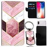 i-Tronixs MEDION LIFE S5004 Rose Pink Sripes WALLET CASE
