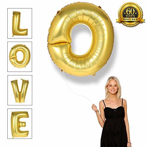 40 Zoll Gold Alphabet A-Z Ballon Nummer 0-9 Luftballons Geburtstagsfeier Dekorationen Helium Folie Mylar Buchstaben Ballon (O)