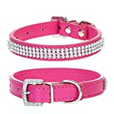CellDeal Dog Cat Pet Puppy Collar Luxury Diamante Band Rhinestone Crystal Bling PU Leather 10 Colors 3 Size (rose pink, Large(diameter 14-18cm))