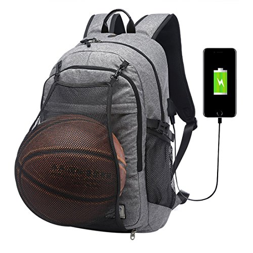 Backpack Womens Mens Canvas Rucksack Basketball Backpack with Basketball Net USB Charging Port Water-Resistant Travel Backpack 15.6 Inch Computer Bag for Leisure Sport Travel Hiking Outdoor Sport Grey