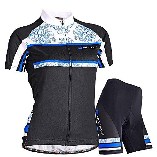 Nuckily Damen-Fahrradtrikot Floria Design Jersey und passender kurzer 2Set Radfahren tragen Größe L blau