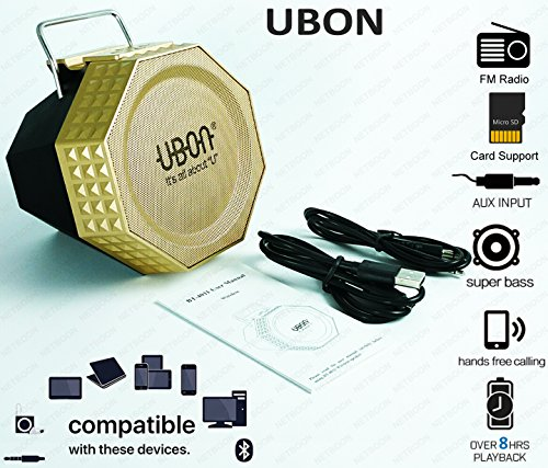 UBON Portable Bluetooth Speaker Hybrid Multi Function, Play FM Radio, Support SD Card,Aux Cable,Handsfree Calling, Super Bass, Large Battery Life, for iPhone, All Android Smartphones,PC,Computer,Laptop, Mp3/mp4, Tablet Macbook (Gold)