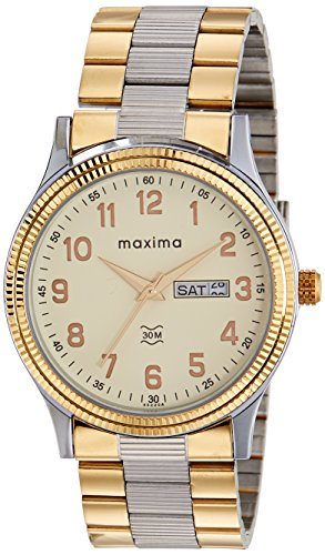 Maxima Analog Champagne Dial Men's Watch - 45244CMGT