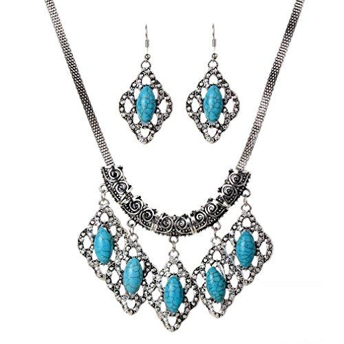 YAZILIND Tibétain Argent Turquoise Rhombus Dangle Boucles d'oreilles collier pendentif Déclaration Parures Diamant