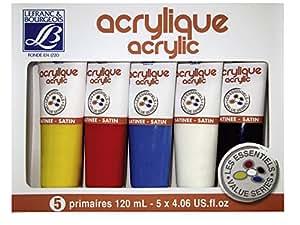 Lefranc Bourgeois Set de 5 Peinture acrylique 120 ml Jaune/Rouge/Bleu/Blanc/Noir