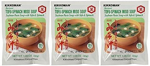 Kikkoman - Instant Tofu-Spinach Miso Soup Mix (9 Pockets in 3 Packs) -3.15 Oz by Kikkoman [Foods]