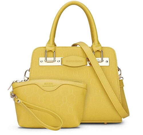 HQYSS Damen-handtaschen Frauen PU-lederner großer Kapazitäts-Schulter-Kurier-Handtaschen-justierbarer einfacher wilder Normallack-Crossbody Beutel-Tote-Beutel-Kupplungs-Beutel 2 Stück-Satz yellow