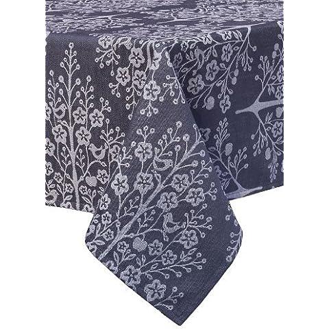 Mahogany Tree of Life Square Jacquard Tablecloth, 60 by 60-Inch, Black by Mahogany
