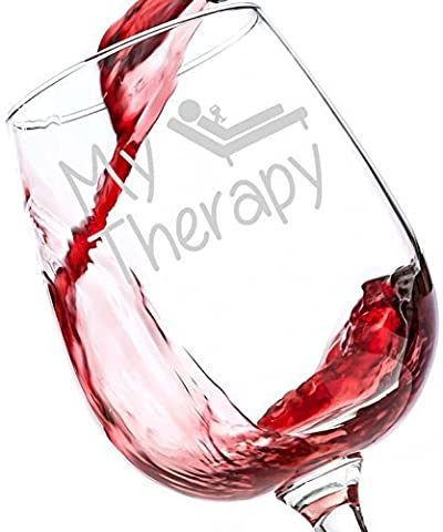 My Therapy Funny Wine Glass 390 ml - Best Birthday Gifts For Women - Unique Gift For Her - Cheeky Novelty Christmas Present Idea For Mum, Wife, Girlfriend, Sister, Friend, Boss, Coworker, or Daughter