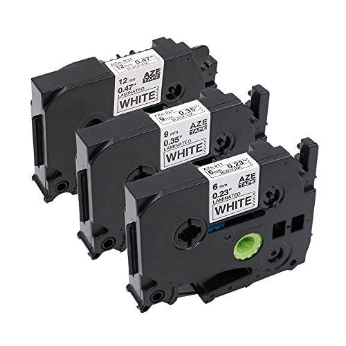 3er Etikettenband Kompatibel zu Brother TZe-211 6mm / TZe-221 9mm / TZe-231 12mm , Schwarz auf Weiß , für P-Touch H105WB D400 H100LB D400VP uvm
