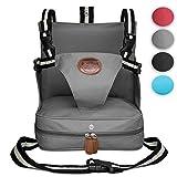 KIDUKU® Sedile Booster 4 diferente colores, seggiolino per Sedia, seggiolino portatile, rialzo da sedia per bambini e neonati, con cuscini gonfiabili e quattro cinture di sicurezza regolabili (Grigio)