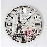 Djkaa Paris Eiffel Tower Digital Wall Clock Fashion England Circular Wood Clocks Coffee Shop Restaurant Bar Decor Wood 16Inch