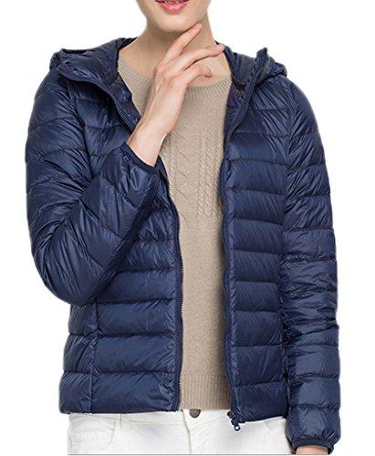 Bigood Femme Manteau Courte Jacket Doudoune Duvet Blouson Chaud Haute Qualité Parka Rembourré Pour Hiver Bleu