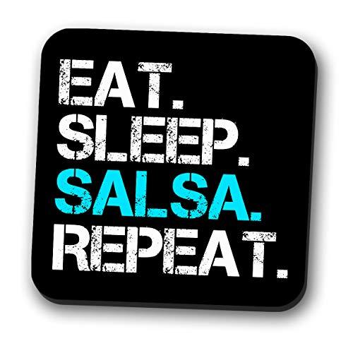 Getränkeuntersetzer Känguru Eat Sleep Salsa Repeat, silberfarben
