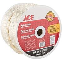 ACE - Cuerda de nailon trenzado de 12 mm, 76 m, para atar, poleas, camping y más