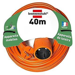 Brennenstuhl rallonge électrique 40m (câble H05VV-F 2x1,5, Orange), Fabrication Française