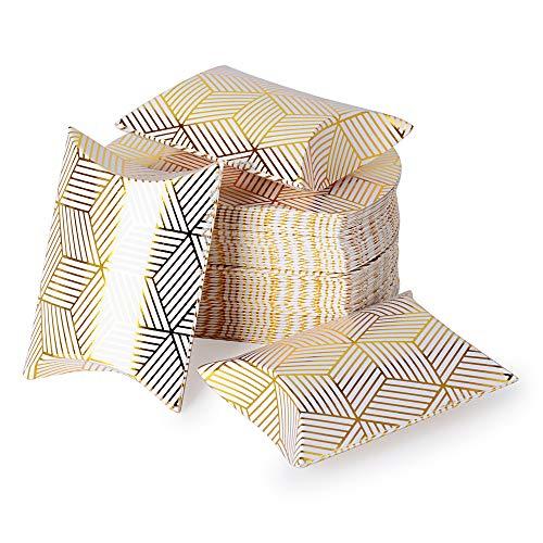 Serwoo 100pz scatole portaconfetti bomboniere oro scatoline carta fai da te per compleanno matrimonio natale battesimo comunione nascita laurea (9 * 6.3 * 2.5 cm)