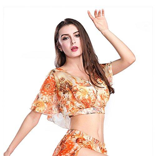 Kostüm Hohe Qualität - ROYAL SMEELA Frauen Mädchen Orange Hohe Qualität Sexy Bauchtanz Top Dance Kleidung Bauchtanz Kostüm