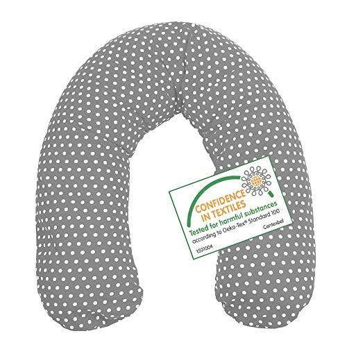 Stillkissen Lagerungskissen Seitenschläferkissen mit Mikroperlen in vielen Farben, 190cm von SUGARAPPLE, Bezug 100% Baumwolle Öko Tex Standard, Farbe Grau Punkte weiß