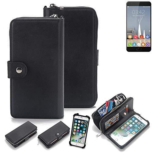 K-S-Trade 2in1 Handyhülle für Oukitel K6000 Plus Schutzhülle und Portemonnee Schutzhülle Tasche Handytasche Case Etui Geldbörse Wallet Bookstyle Hülle schwarz (1x)