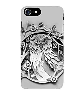 HiFi Designer Phone Back Case Cover Apple iPhone 7 :: Apple iPhone7 ( Owl Art Face Tattoo )