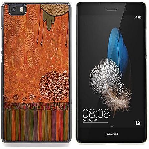 For Huawei Ascend P8 Lite (Not for Normal P8) Case , Pastello a olio Albero arte disegno - Design Pattern Duro Staccabile Stile Telefono Cellulare Nuovo Caso Cover Guscio Duro